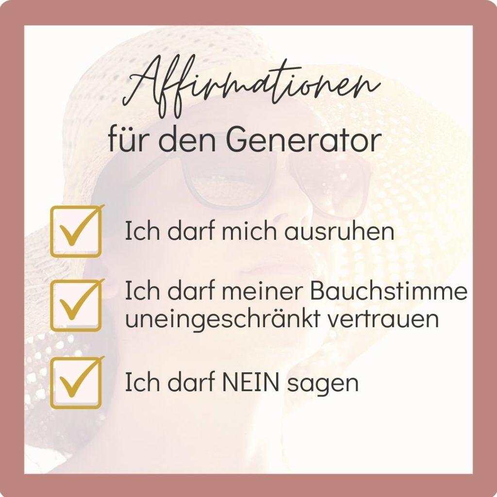 Human Design Generator - Affirmationen