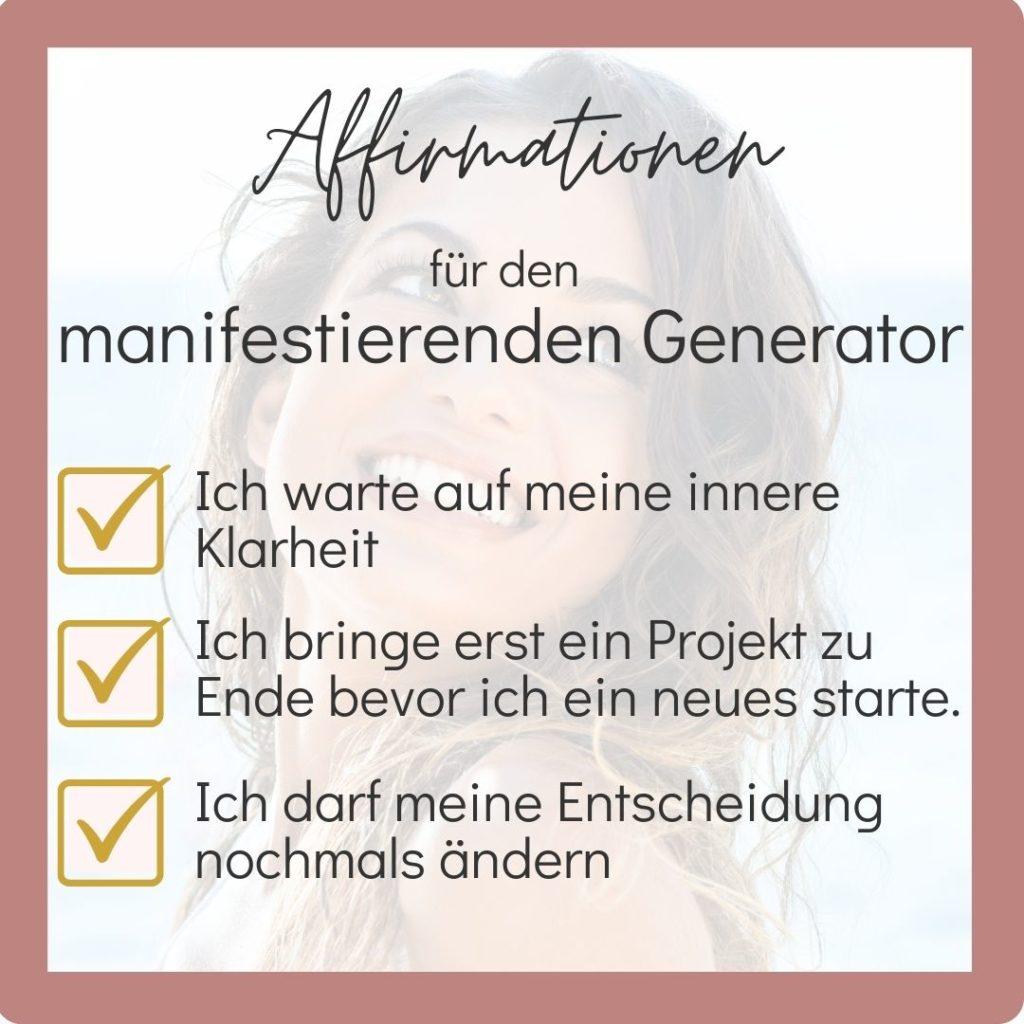 manifestierender Generator - Affirmationen